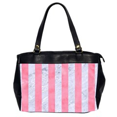 Stripes1 White Marble & Pink Watercolor Office Handbags (2 Sides)