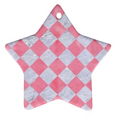 Square2 White Marble & Pink Watercolor Ornament (star)