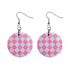 Square2 White Marble & Pink Watercolor Mini Button Earrings