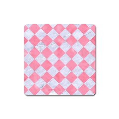 Square2 White Marble & Pink Watercolor Square Magnet