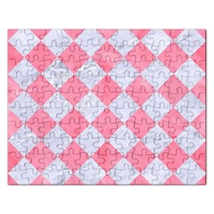 Square2 White Marble & Pink Watercolor Rectangular Jigsaw Puzzl by trendistuff