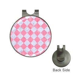 Square2 White Marble & Pink Watercolor Hat Clips With Golf Markers