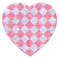 Square2 White Marble & Pink Watercolor Jigsaw Puzzle (heart)