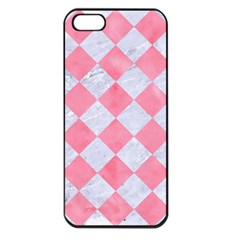 Square2 White Marble & Pink Watercolor Apple Iphone 5 Seamless Case (black)