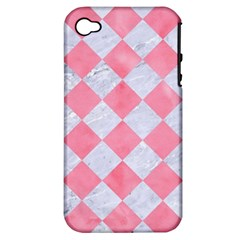 Square2 White Marble & Pink Watercolor Apple Iphone 4/4s Hardshell Case (pc+silicone)