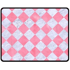 Square2 White Marble & Pink Watercolor Double Sided Fleece Blanket (medium)  by trendistuff