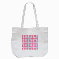 Square2 White Marble & Pink Watercolor Tote Bag (white) by trendistuff