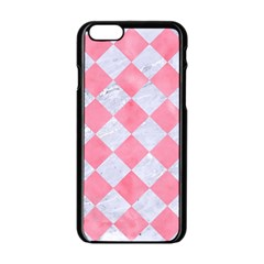 Square2 White Marble & Pink Watercolor Apple Iphone 6/6s Black Enamel Case
