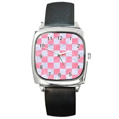 Square1 White Marble & Pink Watercolor Square Metal Watch