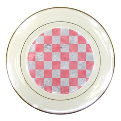 Square1 White Marble & Pink Watercolor Porcelain Plates