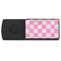 Square1 White Marble & Pink Watercolor Rectangular Usb Flash Drive