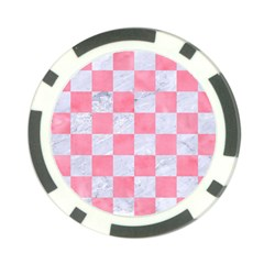 Square1 White Marble & Pink Watercolor Poker Chip Card Guard