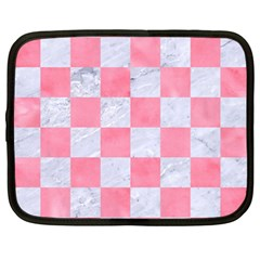 Square1 White Marble & Pink Watercolor Netbook Case (large)