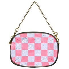 Square1 White Marble & Pink Watercolor Chain Purses (one Side)