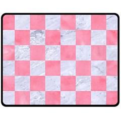 Square1 White Marble & Pink Watercolor Fleece Blanket (medium)