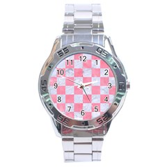 Square1 White Marble & Pink Watercolor Stainless Steel Analogue Watch