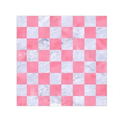 Square1 White Marble & Pink Watercolor Small Satin Scarf (square)