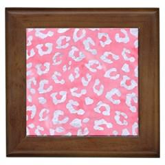 Skin5 White Marble & Pink Watercolor (r) Framed Tiles