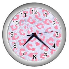 Skin5 White Marble & Pink Watercolor Wall Clocks (silver)