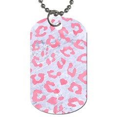 Skin5 White Marble & Pink Watercolor Dog Tag (two Sides) by trendistuff