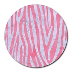 Skin4 White Marble & Pink Watercolor (r) Round Mousepads