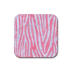 Skin4 White Marble & Pink Watercolor (r) Rubber Square Coaster (4 Pack)