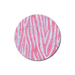 Skin4 White Marble & Pink Watercolor (r) Rubber Round Coaster (4 Pack)  by trendistuff
