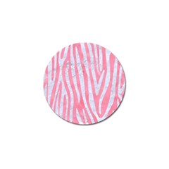 Skin4 White Marble & Pink Watercolor (r) Golf Ball Marker