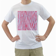 Skin4 White Marble & Pink Watercolor (r) Men s T Shirt (white)