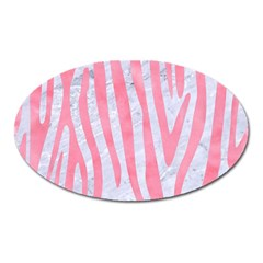 Skin4 White Marble & Pink Watercolor Oval Magnet