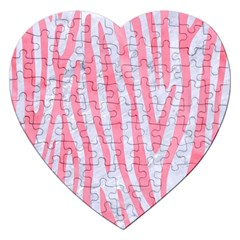 Skin4 White Marble & Pink Watercolor Jigsaw Puzzle (heart)