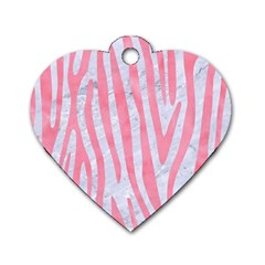 Skin4 White Marble & Pink Watercolor Dog Tag Heart (one Side) by trendistuff