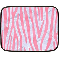 Skin4 White Marble & Pink Watercolor Fleece Blanket (mini)