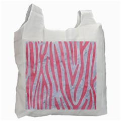 Skin4 White Marble & Pink Watercolor Recycle Bag (two Side)