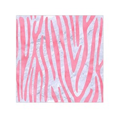 Skin4 White Marble & Pink Watercolor Small Satin Scarf (square)