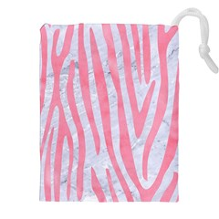 Skin4 White Marble & Pink Watercolor Drawstring Pouches (xxl)
