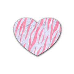 Skin3 White Marble & Pink Watercolor (r) Heart Coaster (4 Pack)