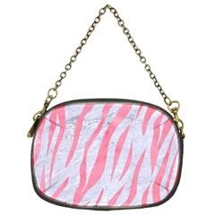 Skin3 White Marble & Pink Watercolor (r) Chain Purses (two Sides)