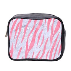 Skin3 White Marble & Pink Watercolor (r) Mini Toiletries Bag 2 Side