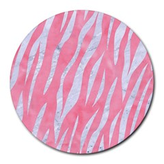 Skin3 White Marble & Pink Watercolor Round Mousepads