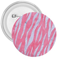 Skin3 White Marble & Pink Watercolor 3  Buttons