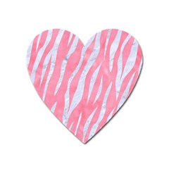 Skin3 White Marble & Pink Watercolor Heart Magnet by trendistuff