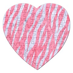 Skin3 White Marble & Pink Watercolor Jigsaw Puzzle (heart)