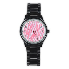 Skin3 White Marble & Pink Watercolor Stainless Steel Round Watch