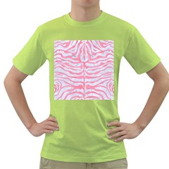 Skin2 White Marble & Pink Watercolor (r) Green T Shirt