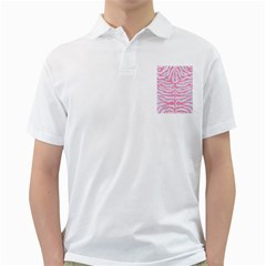 Skin2 White Marble & Pink Watercolor (r) Golf Shirts