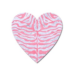 Skin2 White Marble & Pink Watercolor (r) Heart Magnet by trendistuff