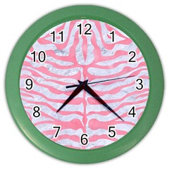 Skin2 White Marble & Pink Watercolor (r) Color Wall Clocks