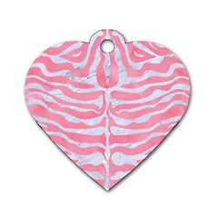 Skin2 White Marble & Pink Watercolor Dog Tag Heart (one Side)