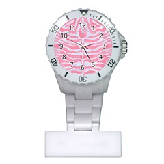 Skin2 White Marble & Pink Watercolor Plastic Nurses Watch